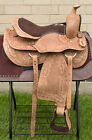 """USED 14"""" HAND CARVED COMFY WESTERN PLEASURE TRAIL LEATHER HORSE SADDLE TACK SET"""