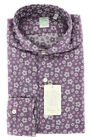 New $375 Finamore Napoli Purple Floral Shirt - Extra Slim - (F110182)