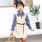 Kids Long Sleeved Autumn Dress Preppy Style School Girls Dresses Vintage Clothes
