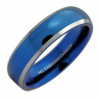 Free Custom Engraving 6mm Blue Plated  Tungsten Carbide Wedding Ring