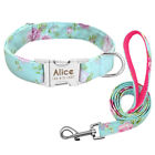Floral Personalized Dog Collar and Leash Set Laser Engraving Custom ID Name Tag