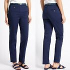 PER UNA Cotton Rich TAPERED Leg CHINOS with Belt ~ Various Sizes ~ NAVY