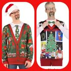 NWT Faux Real Ugly Christmas Sweater Vest Long Sleeve Shirt HolidayM XXL Noel
