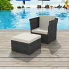 Garden Chair With Stool Poly Rattan Indoor Outdoor Patio Home Furniture 2 Color