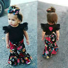 Toddler Kids Baby Girls Lace Tops T-shirt Floral Flare Pants Casual Clothes Sets