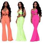 Women spaghetti strap hollow out bodycon solid color casual wide legs jumpsuit