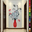 3d Vase Flower Crystal Arcylic Wall Stickers Diy Decal Home Bedroom Decorations