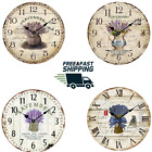 """12"""" Shabby Wooden Wall Clock Retro American Lavender Pattern Roman Number Quite"""