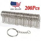 200pcs DIY 25mm Polished Silver Keyring Keychain Split Ring Short Chain Key Ring