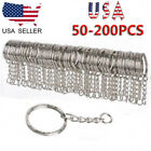 Kyпить 200pcs DIY 25mm Polished Silver Keyring Keychain Split Ring Short Chain Key Ring на еВаy.соm