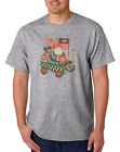 Gildan Cotton T-shirt Christmas Americana Santa In Wagon Ugly Sweater