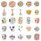 European Silver Charms Crystal Heart Beads Gifts CZ Pendant Fit 925 Bracelets image
