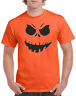 Halloween T-shirt Pumpkin Face Jack-o-Lantern Gildan Orange Gray White