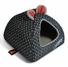 New Pet Dog Cat House Bed Tent Kennel Cushion Indoor House Size S,M,L Black