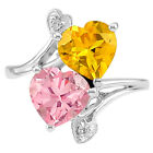 Simulated Yellow Sapphire Morganite 925 Silver Ring Jewelry Size 6-9 DGR1071_F