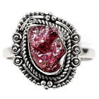 Handcrafted - Pink Tourmaline Rough 925 Silver Ring Jewelry s.9 SDR58625