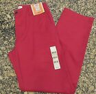 DOCKERS D2 MENS OFF THE CLOCK KHAKI FLAT FRONT STRAIGHT RED PANTS $58 Golf