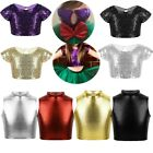 Girls Kids Glitter Dance Crop Top Sequins Vest Party Stage Performance Daily Top