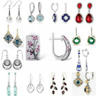 Women 925 Silver Ruby Pearl Sapphire Gemstone Ear Stud Hook Dangle Drop Earrings image