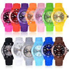 Fashion Women Men Silicone Rubber Jelly Band Wrist Watch For Girl Kids Gift