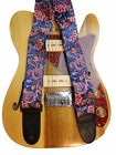 Blue or Red Paisley Guitar Strap Retro Vintage Hippie Acoustic Electric Bass