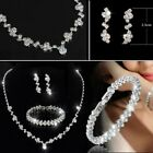 Crystal Necklace Earrings Women Jewelry Set Bridesmaid Prom Party Bridal Wedding image