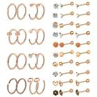 36pc Stainless Steel Nose Hoop Ring Ear Stud Cartilage Earring Piercings Jewelry image