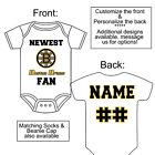 PERSONALIZED BOSTON BRUINS FAN BABY GERBER ONESIE SOCKS HAT CUSTOM MADE GIFT $23.99 USD on eBay