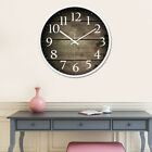 Round Quartz Wall Hanging Clock Modern Home Wood Pattern Large Mute Wall Clock