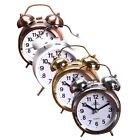 Retro Classic Alarm Clock Mute Pointer Double Bells Bedside Clock Home Decor