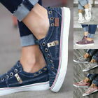 Womens Canvas Denim Loafers Slip On Flat Trainers Casual Pumps Comfy Shoes Size
