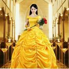 US! Adult Fancy Beauty and the Beast Belle Yellow Dress Princess Costume Cosplay