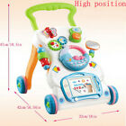 4 in 1 Sit-to-stand Baby Walker Stroller Stroller Toddler Hand Trolley Music Toy
