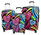 Suitcase Travel Bags Expandable Hard Shell Multicolour Hearts 4 Wheel Luggage