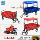 Hand Trolley Wagon Wheelbarrow Fruit Pickers with Canopy Pockets Foldable Steel