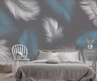 3D Blue Feather B98 Wallpaper Wall Mural Removable Self-adhesive Sticker Zoe