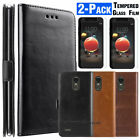 For LG Aristo 2/Phoenix 4/Rebel 4 LTE Card Slot Stand Wallet Case+Tempered Glass