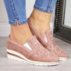 Fashion Women's Sneakers Wedges Heel Slip On Shoes Crystal Rhinestone Loafers US