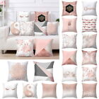 Pink Polyester Pillow Case Sofa Car Waist Throw Cushion Cover Home Decoration Ak