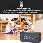 Wooden Stripes Alarm Clock LED Screen Time Voice Touch Control Digital Clock