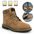 Brown Men's Work Boots Safety Steel Toe Leather Waterproof Cowboy Pull On Shoes