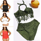 Womens Plus Size Swimsuit S-3X Two Piece Tassels High Waist Solid Beach Tankini