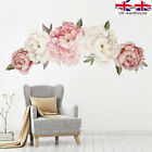 Uk Pink Peony Flower Wall Stickers Kids Baby Nursery Decor Mural Decal Top