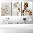 Boho Woman Reeds Nature Canvas Poster Nordic Wall Art Print Modern Decoration