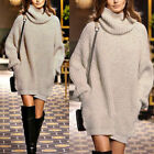 Womens Plain High Neck Baggy Loose Kint Sweater Mini Dress With Pockets Autumn