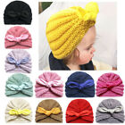 Baby Kids Cute Rabbit Ears Bowknot Hat Knitted Wool Turban Toddler Headwrap New