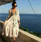 Women Hippie Mexican Floral Embroidered Deep V neck BOHO Maxi DRESS