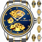 Mens Automatic Mechanical Watch Skeleton Gold/Black Stainless Steel Wristwatch image