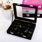 Velvet Glass Jewelry Display Organizer Box Tray Holder Earring Ring Storage Case