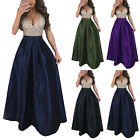 Plus Size Womens Sexy V Neck Sequins Formal Evening Ball Gown High Waist Dress $15.19 USD on eBay